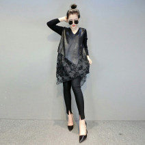 Dress Spring 2021 black S,M,L Mid length dress Fake two pieces Long sleeves street V-neck Loose waist Socket routine Type A BatWriter 91% (inclusive) - 95% (inclusive) Europe and America
