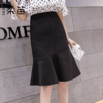 skirt Spring 2020 Middle-skirt A-line skirt commute High waist Solid color More than 95% other 25-29 years old 0427 Ruffle, fold, asymmetry, zipper Korean version S,M,L,XL,2XL Black, apricot