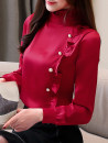 shirt White, Burgundy, champagne, dark green, black skirt S,M,L,XL,2XL Spring of 2019 other 96% and above Long sleeves commute Regular Lotus leaf collar Socket routine Solid color Self cultivation Korean version