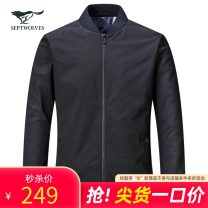 Jacket Septwolves Business gentleman 165/84A/M 170/88A/L 175/92A/XL 180/96A/XXL 185/100A/XXXL 190/104A/XXXXL routine standard go to work spring Polyester 100% Long sleeves Wear out Baseball collar Business Casual middle age routine Zipper placket Rib hem washing Closing sleeve other polyester fiber