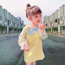 Dress Two yellow dresses female Other / other 120cm,110cm,90cm,80cm,140cm,130cm Other 100% spring and autumn Korean version Long sleeves Broken flowers other A-line skirt F87192 other 12 months, 18 months, 2 years old, 3 years old, 4 years old, 5 years old, 6 years old, 7 years old, 8 years old