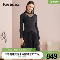 Dress Autumn 2020 black S M L XL 2XL Middle-skirt singleton  Long sleeves commute Crew neck middle-waisted Solid color zipper A-line skirt routine 35-39 years old Type A Koradior / coretti Simplicity Pleated lace More than 95% polyester fiber Polyester 100%