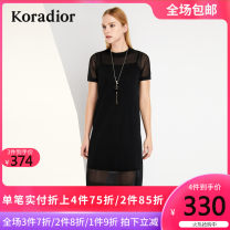 Dress Spring of 2018 black XXL XL L M S longuette Two piece set Short sleeve commute Crew neck middle-waisted Solid color Socket other routine Others 35-39 years old Koradior / coretti Simplicity Splicing More than 95% other Other 100%