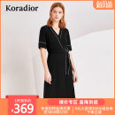 Dress Summer of 2019 black S M L XL XXL Mid length dress singleton  Short sleeve commute V-neck middle-waisted other Socket routine Others 30-34 years old Koradior / coretti Simplicity Lace up stitching More than 95% other polyester fiber Polyester 100%
