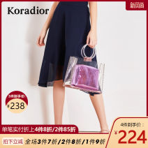 skirt Summer of 2019 S M L XL XXL blue Mid length dress commute Natural waist other Solid color 30-34 years old K1AHC721902-180997 More than 95% Koradior / coretti polyester fiber Splicing Simplicity Polyester 100%
