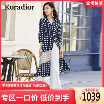 Dress Summer 2020 Dark ultramarine S M L XL XXL Mid length dress singleton  three quarter sleeve commute middle-waisted Dot Socket other routine Others 35-39 years old Koradior / coretti lady Splicing KF04038P7-487223 More than 95% other polyester fiber Polyester 100%