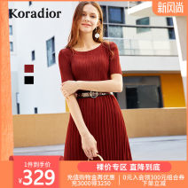 Dress Autumn of 2018 Blue red S M L XL XXL Middle-skirt singleton  Short sleeve commute Crew neck middle-waisted Solid color zipper other routine Others 35-39 years old Koradior / coretti Simplicity Fold splicing K1AGF621912-147531 More than 95% polyester fiber Polyester 100%