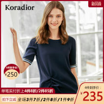 Lace / Chiffon Summer of 2019 blue S M L XL XXL Short sleeve commute Socket singleton  Self cultivation Regular Crew neck other routine 30-34 years old Koradior / coretti Lace up stitching Simplicity 96% and above Polyester 100%