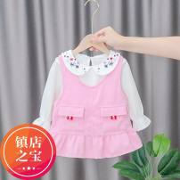 Dress Yellow, pink female 80cm,90cm,100cm,70cm Cotton 90% other 10% spring and autumn Korean version Long sleeves Solid color Cotton blended fabric A-line skirt 3 months, 12 months, 6 months, 9 months, 18 months, 2 years old, 3 years old, 4 years old