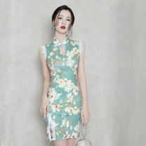 cheongsam Summer 2020 S M L Sleeveless Short cheongsam Retro High slit daily Round lapel Big flower 18-25 years old Piping LessonI other Other 100% Pure e-commerce (online only)