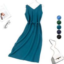 Dress Summer 2020 L,XL Mid length dress singleton  Sleeveless commute V-neck Loose waist Solid color Socket Type H Nine silkworms Simplicity More than 95% Crepe de Chine silk