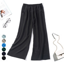 Casual pants Average size Summer 2020 trousers Wide leg pants Natural waist Versatile Thin money 96% and above Nine silkworms silk silk