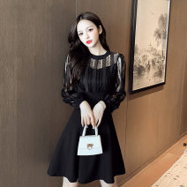 Dress Spring 2021 black S,M,L,XL,2XL Middle-skirt singleton  Long sleeves commute Crew neck High waist Solid color Socket A-line skirt routine 25-29 years old Type A Korean version Splicing X225 More than 95% other polyester fiber
