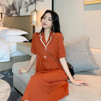 Dress Summer 2021 Blue, orange Average size Mid length dress singleton  Short sleeve commute High waist Solid color Socket A-line skirt routine 25-29 years old Type A Korean version Button X433 51% (inclusive) - 70% (inclusive) polyester fiber
