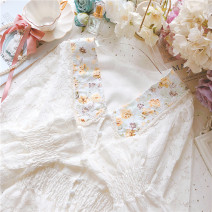 Lace / Chiffon Spring 2021 White, apricot Average size Long sleeves Sweet Cardigan singleton  Self cultivation Regular Doll Collar bishop sleeve 25-29 years old Lotus leaf, nail bead solar system