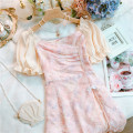 Dress Summer 2021 Pink S,M,L Short skirt singleton  Short sleeve Sweet One word collar High waist Decor other Ruffle Skirt puff sleeve Others 25-29 years old Type A Lotus leaf, nail bead 30% and below Chiffon princess