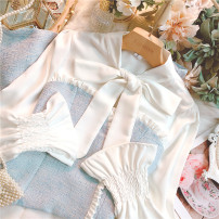 Dress Spring 2021 blue S,M,L Short skirt Fake two pieces Long sleeves commute High waist Socket A-line skirt Lotus leaf sleeve 25-29 years old Type A lady