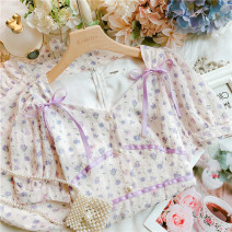 Dress Summer 2021 violet S,M,L Short skirt singleton  Short sleeve Sweet V-neck High waist Decor Socket Ruffle Skirt routine Others 25-29 years old Type A Lotus leaf edge 30% and below Chiffon princess