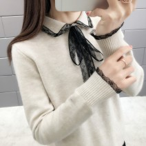 Wool knitwear Spring of 2019 Average size Long sleeves singleton  Socket other 81% (inclusive) - 90% (inclusive) Regular routine commute easy square neck routine Solid color Socket Korean version 25-29 years old Bows, lace