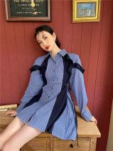 Dress Spring 2021 Blue stripe [in stock] XS,S,M Short skirt Long sleeves