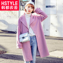 woolen coat Winter 2017 XSSML Jishi powder Medium length Long sleeves commute Single breasted other Polo collar Solid color Korean version HH8165.