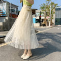 skirt Spring 2021 Average size Apricot black grey longuette commute High waist A-line skirt Solid color Type A 25-29 years old More than 95% Lace Mulanti other Embroidered pleated net lace lady Other 100% Pure e-commerce (online only)