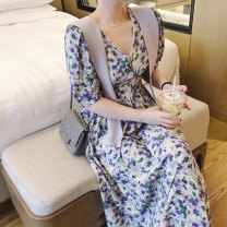 Dress Summer 2021 violet S,M,L Mid length dress singleton  Short sleeve commute V-neck Broken flowers Socket A-line skirt routine Type A cotton