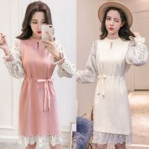 Dress Spring 2021 Apricot, lotus root Pink S,M,L,XL Miniskirt Fake two pieces Long sleeves commute Crew neck Elastic waist Solid color Socket Ruffle Skirt Lotus leaf sleeve Others 25-29 years old Type H 31% (inclusive) - 50% (inclusive) other