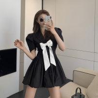 Dress Summer 2021 White, black S, M Short skirt singleton  Short sleeve commute middle-waisted 18-24 years old Korean version 81% (inclusive) - 90% (inclusive)
