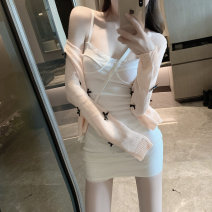 Dress Spring 2021 Peach powder knitted cardigan, white suspender skirt Average size Short skirt Two piece set commute Solid color Socket camisole 18-24 years old Korean version 81% (inclusive) - 90% (inclusive)
