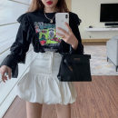 T-shirt Black Ruffle Top 7562, White Ruffle Top 7562, black stitched denim skirt 7563, white stitched denim skirt 7563 S. M, l, average size Spring 2021 Long sleeves Crew neck Self cultivation Regular commute other 71% (inclusive) - 85% (inclusive) 18-24 years old Korean version