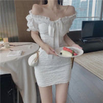 Dress Summer 2020 white S, M Short skirt singleton  Short sleeve commute V-neck High waist Solid color Socket other routine Others 18-24 years old Type A Korean version 81% (inclusive) - 90% (inclusive)