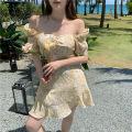Dress Summer 2021 yellow S, M Short skirt singleton  Short sleeve commute square neck High waist Broken flowers Socket puff sleeve 18-24 years old 81% (inclusive) - 90% (inclusive)