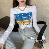 T-shirt Letter print T, reflective pants Average size Spring 2021 Long sleeves Crew neck Self cultivation Regular routine commute other 71% (inclusive) - 85% (inclusive) 18-24 years old letter