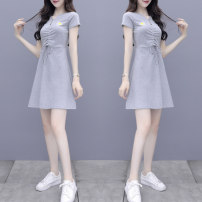 Dress Summer 2021 Black grey S M L XL 2XL Middle-skirt singleton  Short sleeve commute V-neck High waist Solid color Princess Dress routine 18-24 years old Type A Povera Retro C312 - D2721 # More than 95% other Other 100% Pure e-commerce (online only)
