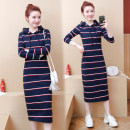 Women's large Autumn of 2019 Color bar 8908 # long sleeve 8601 # blue stripe short sleeve color bar 8916 # short sleeve M L XL 2XL 3XL 4XL commute easy Socket Long sleeves other Povera 25-29 years old Medium length Other 100% Pure e-commerce (online only) other