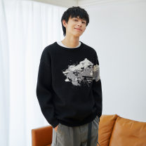 T-shirt / sweater Zhiming Youth fashion black S M L XL XXL Socket Crew neck Long sleeves MS037040 autumn Straight cylinder Triacetate fiber (triacetate fiber) 100% leisure time youth Autumn 2020 jacquard weave