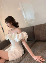 Dress / evening wear Wedding, adulthood, party, company annual meeting, performance, routine, appointment XS,S,M,L White shoulder Short skirt High waist Autumn 2020 One shoulder Brocade