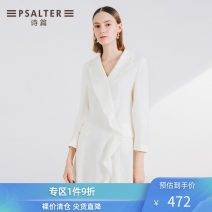 short coat Autumn of 2019 36 38 40 42 44 Beige Long sleeves Medium length routine singleton  Straight cylinder commute routine other zipper Solid color 30-34 years old Psalter / poem 31% (inclusive) - 50% (inclusive) polyester fiber Same model in shopping mall (sold online and offline)