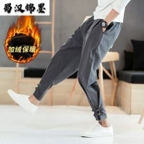 Casual pants Others Youth fashion M,L,XL,2XL,3XL,4XL,5XL Plush and thicken trousers Travel? Extra wide Micro bomb Four seasons Large size Chinese style 2019 middle-waisted Sports pants washing Ethnic style cotton cotton More than 95%
