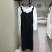 Dress Spring 2021 Black, brown M,L,XL Mid length dress Two piece set Long sleeves commute High waist routine Korean version 51% (inclusive) - 70% (inclusive)