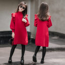 Dress gules female Other / other 110cm, 120cm, 130cm, 140cm, 150cm, adult s, adult m, adult L Viscose (viscose) 53% cotton 47% winter Korean version Long sleeves Solid color cotton A-line skirt Red fur dress Class A 8 years old