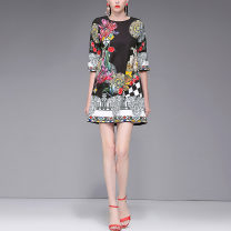 Dress Spring of 2019 black S,M,L,XL Short skirt singleton  three quarter sleeve street Crew neck middle-waisted zipper other routine Others DIDABOLE 51% (inclusive) - 70% (inclusive) Europe and America