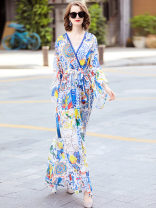 Dress Summer of 2019 blue XL,L,M,S longuette Two piece set Long sleeves street V-neck middle-waisted Big swing routine Others DIDABOLE Printing, splicing 51% (inclusive) - 70% (inclusive) Europe and America