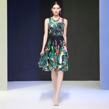 Dress Summer 2020 green S,M,L,XL Middle-skirt singleton  Sleeveless street square neck middle-waisted zipper other DIDABOLE Inlaid diamond, nail bead, printing 51% (inclusive) - 70% (inclusive) Europe and America