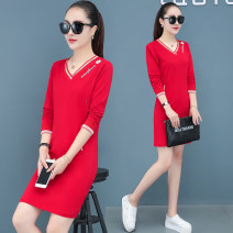 Women's large Autumn 2020 Dress singleton  commute easy moderate Socket Long sleeves Solid color Korean version V-neck Medium length cotton Three dimensional cutting routine 30-34 years old pocket 81% (inclusive) - 90% (inclusive) longuette Cotton 95% polyurethane elastic fiber (spandex) 5% other