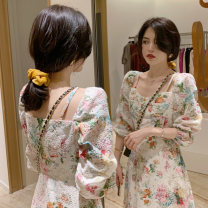 Dress Spring 2021 Floral Dress XL S M L longuette singleton  Long sleeves commute V-neck High waist Broken flowers Socket A-line skirt routine Others 18-24 years old Looking for green Korean version printing 51% (inclusive) - 70% (inclusive) Chiffon polyester fiber Polyester 60% other 40%