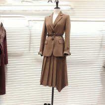 Professional dress suit S,M,L,XL Camel, black, camel skirt, black skirt, camel suit, black suit Spring 2021 Long sleeves 878+859 Pleated skirt 81% (inclusive) - 90% (inclusive)