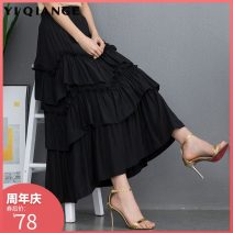 skirt Summer of 2019 Average size 80-145 kg Black three layers white three layers 9082 black 9082 dark green 9082 skin pink 9082 denim blue 9082 off white 9082 Turquoise Mid length dress commute High waist Cake skirt Solid color Type A YQGA788 91% (inclusive) - 95% (inclusive) polyester fiber