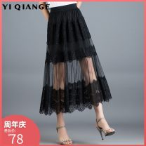 skirt Summer of 2019 Average size Mid length dress commute High waist A-line skirt Solid color Type A 91% (inclusive) - 95% (inclusive) According to shallow case polyester fiber Cut out lace Korean version Other polyester 95% 5% Pure e-commerce (online only)